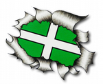 Ripped Torn Metal Design With Devon County Flag Motif External Vinyl Car Sticker 105x130mm